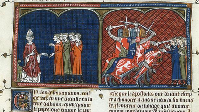 Le Pape Innocent III excommunie les Albigeois (gauche), Simon de Montfort (droite)