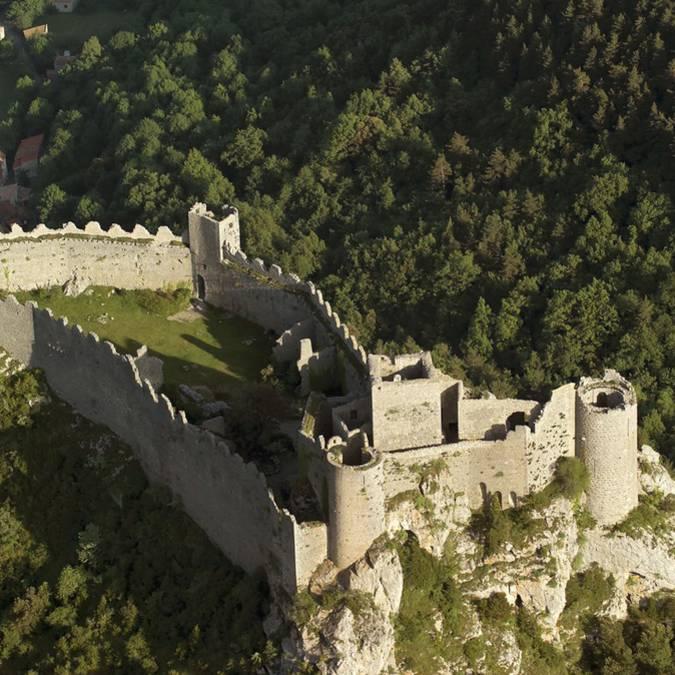 Le château de Puilaurens vu du ciel